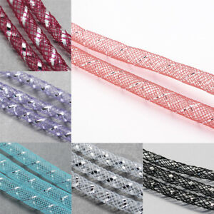 150yards Mesh Tubing Cords Silver Vein Plastic Net Thread Ribbon Wreath 8mm DIA
