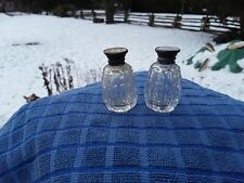 Vintage Salt And Pepper Shakers With Silver And Mother Of Pearl Tops. Antiques