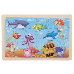 24 Piece Wooden Jigsaw Puzzle for Kids & Children - 20 Different Animal Scenes