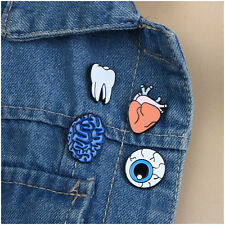 4pcs Cute Enamel Tooth Heart Collar Pins Badge Corsage Cartoon Brooch Jewelery