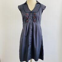 Anthropologie Maeve Gray Sailor Dress Flutter Sleeve Button Collar Dress Size 6
