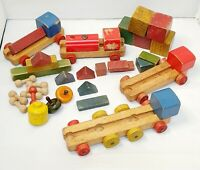 Vintage 1940's 1950's Painted Wooden Toy Blocks Bricks Train Architectural