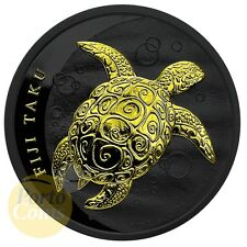 2012 1 oz Silver Fiji Taku Turtle Black Ruthenium 24k Gold Gilded Coin