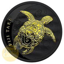 2012 1 oz Silver Fiji Taku Turtle Black Ruthenium 24k Gold Gilded Coin