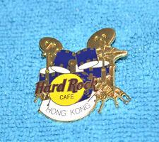HARD ROCK CAFE 1997 Hong Kong Blue Drum Set Small 'Hong Kong' Pin # 3035