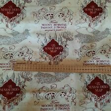 Harry Potter Marauders Map 100% Cotton Fabric Material BY the METRE X 112cm