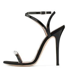 Women Elegant High Heel Sandals Crystal Shiny Strappy Summer Evening Party Shoes