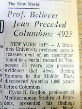 1970 newspaper wth Theory THE JEWS DISCOVERED AMERICA 1000 years before COLUMBUS