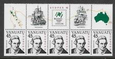 VANUATU 1988 SYDPEX CAPTAIN COOK Strip of 5 MNH