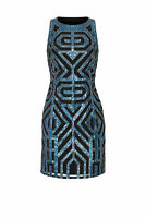 Vie la V Women's Dress Blue US Size 2 Sheath Crewneck Geo Sequin $800- #471