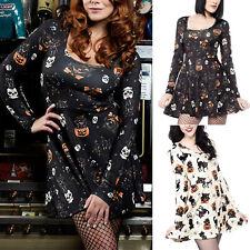Women Halloween Skull Pumpkin Mini Dresses Casual Long Sleeve Skater Swing Dress