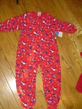 NWT $24 GIRLS FLEECE BLANKET SLEEPER BY TOTAL GIRL SIZE 4/5 RED WITH PENGUINS