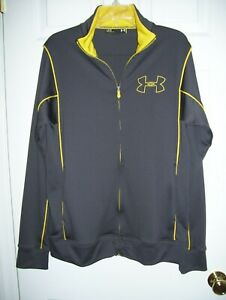 Under Armor Men Light Jacket L Zip Up Front Gray/Yellow Trim 100% Poly Knit H-1