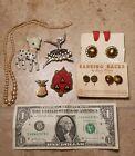 Vtg 1940's - 50's Lot Clip Earrings Pins Pearls Bakelite? Colored Retro MCM