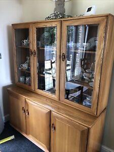 Ercol Windsor Elm 3 Door Display Cabinet On Cupboard Base In Fruitwood Finish