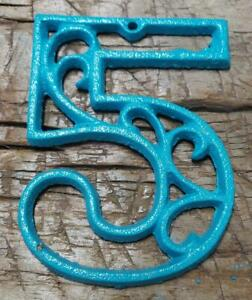 Rustic TURQUOISE Cast Iron Metal House Number Street Address 4 1/2 INCH Phone #5