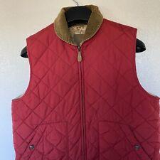 RALPH LAUREN Womens Red Quilted Zip Vest Corduroy Collar Equestrian Lining Sz M