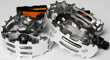 "Old school BMX XC-II Wellgo bear trap pedals 9/16"" (FOR 3 PIECE CRANKS) SILVER"