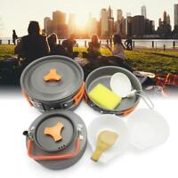 8pcs Outdoor Camping Hiking Cookware Picnic Cooking Bowl Pot Pan Set for Person