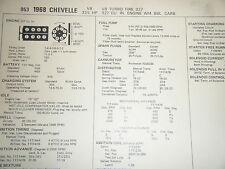 1968 CHEVROLET CHEVELLE TURBO FIRE 327 C I 325 HP 4 BBL SUN TUNE UP SPECS SHEET