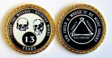 """Alcoholics Anonymous 13 Yr. Skulls and Bones Rope Edge Sobriety Coin Chip 1 3/4"""""""