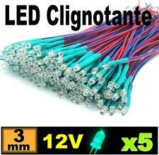 266/5# LED précablé clignotante vert 3mm 12v -- 5pcs