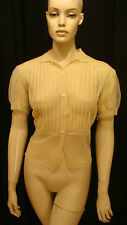 40s VINTAGE YELLOW SEXY SHEER NYLON PIN UP BLOUSE w PLEATS DAISY BUTTONS L
