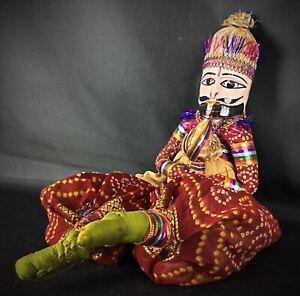 Superbe rare poupée vintage Inde bois et tissus (H51cm) fait main art populaire