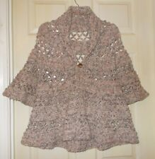 4f8698f27cb Womens Brown Crochet Jacket Shrug Bell Sleeves High Collar Size LARGE Bust  38