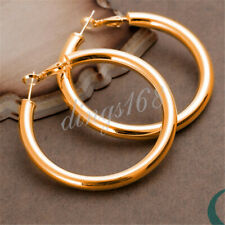 18K Gold Filled 5mm thick 2 inch Large Tubular Fashion Round Hoop Earrings H792G