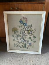 """Vintage Framed Floral Embroidery Wall Hanging Picture 18x21"""" 46x53cm"""