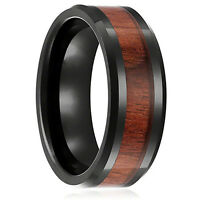 8mm Band  Stainless Steel Ring Tungsten Steel Wood Couple Men's Silver Inlaid