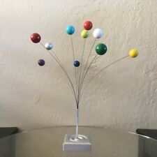 Vintage MCM style KINETIC Art SCULPTURE Orb Wire ATOMIC SPHERE Table Top MOBILE