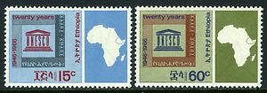 Éthiopie 466-467, MNH Unesco, 20th Anniv. Emblème, Carte De Afrique, 1966