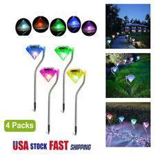 4Pcs Outdoor Solar Path Led Lawn Diamond Lights Stainless Steel Garden Lamp