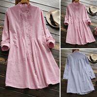 ZANZEA Women Long Sleeve Frill Shirt Dress Buttons Down Cotton Ethnic Dress Plus