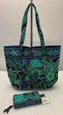 Vera Bradley Blue Rhapsody XL Vera Tote Travel Bag Purse & Turn Lock Wallet NEW