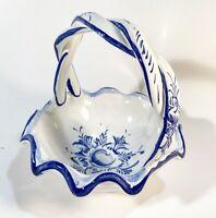 Portugal Art Pottery Hand Painted Basket - Vintage Blue & White Decor Ceramic