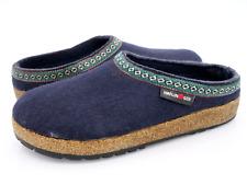 Haflinger Womens 7.5 Blue Casual Wool Comfort Flat Slip On Mule Shoes EUR 38