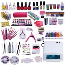 12 Colores De Acrílico Polímero de Cristal en polvo Uñas De Gel Uv Lamp Set Kit
