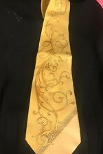 gianni versace Vintage tie Yellow  💯 Silk Nwts Bought At Saks