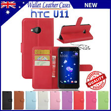 PU Leather Wallet Case TPU Cover For HTC U11 U 11 + Screen Protector