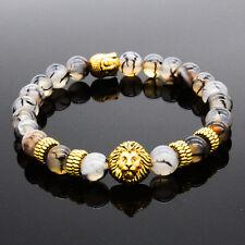 Mens piedras de lava León de Oro Buda con cuentas pulsera del encanto de regalo