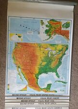 Rand McNally Retractable School 6 Maps USA, N. & S. Americia Asia Africa Europe