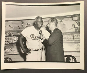 1950's Jackie Robinson Vintage Type 1 Photo Interview With Ben Grauer Dodgers