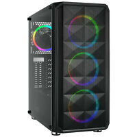 ATX Mid Tower PC Gaming Computer Case, Tempered Glass/Steel/Mesh, 4 x RGB Fans