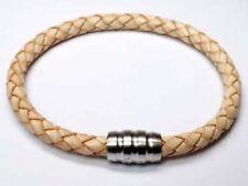 EDELSTAHL . Leder beige Magnetverschluß Armband 19 cm