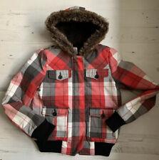 ROXY Red Tartan Checked Hooded Jacket Coat size M