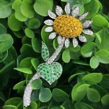 Beautiful Sunflower Design With Citrine, Emerald & White CZ 6.24TCW Fine Brooch