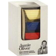 New JAMIE OLIVER Terracotta DIPPING BOWLS + WOOD SPREADER BOXED Kitchen Table